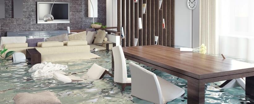 water damage restoration: flooded home