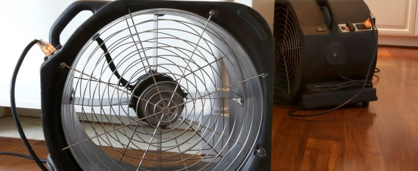 water damage cleanup company drying fan
