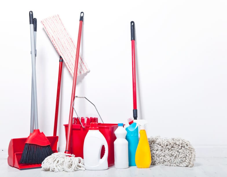 Water Cleanup with a mop, broom, and supplies